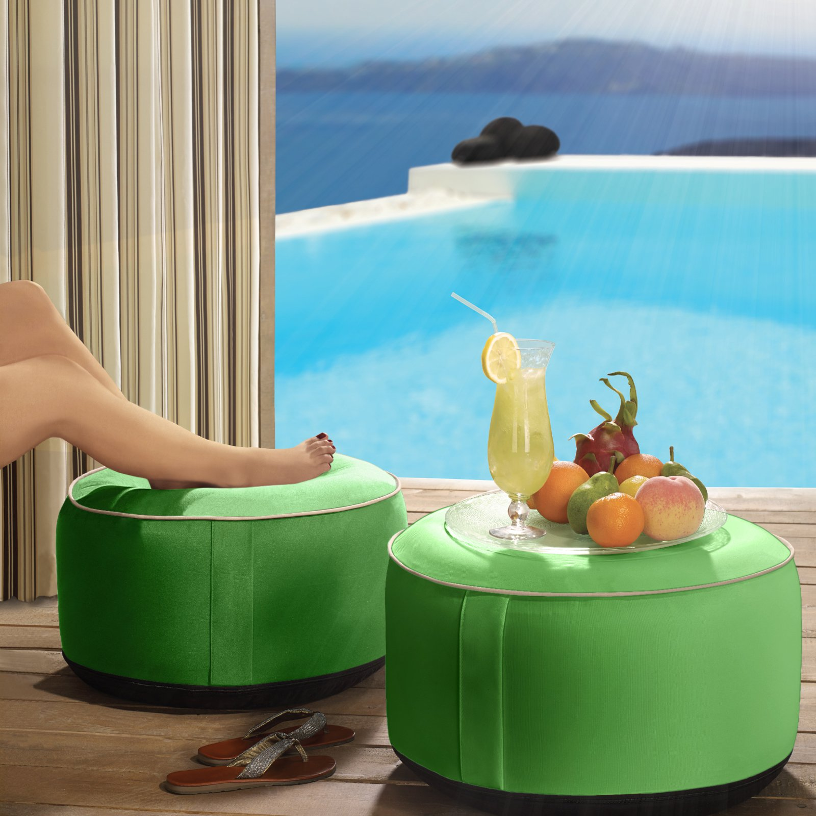 Outdoor Decor Splash N Dash 21 in.Inflatable Indoor / Outdoor Pouf