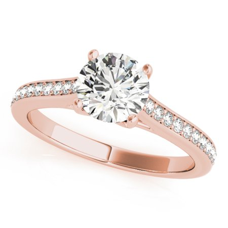 0.50 Carat Halo Diamond Engagement Innovative Ring In 10K Rose Gold