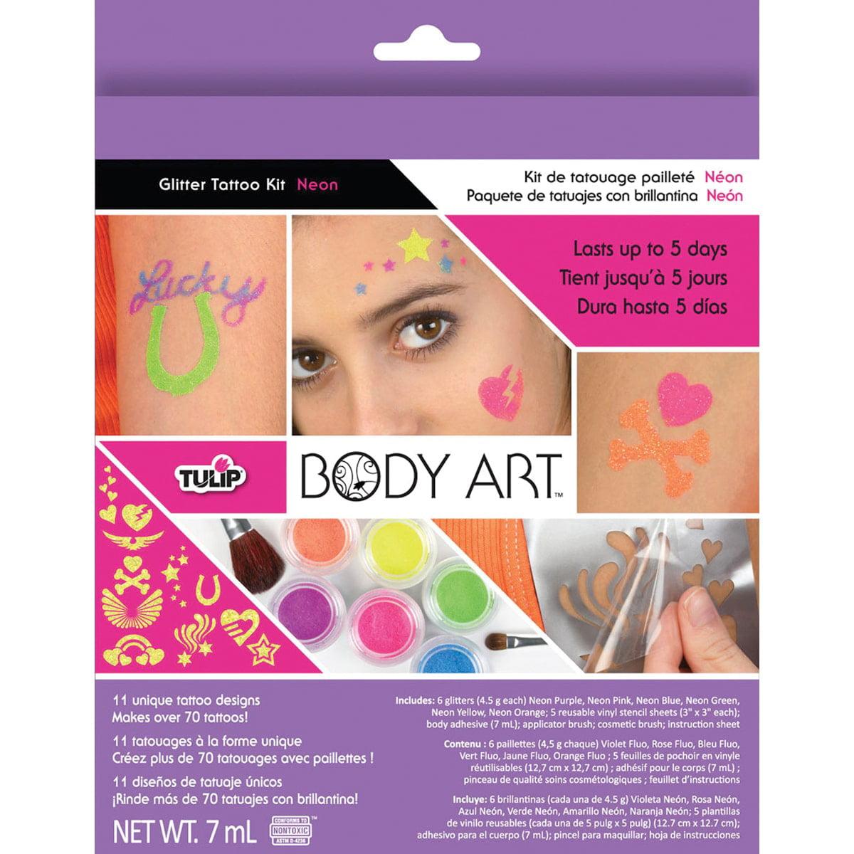 Tulip Body Art Glitter Tattoo Kit, Neon