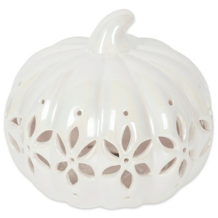 DII Halloween & Fall Pearl White Pumkpin Tealight Ceramic LED Lantern Ideal for Indoor Home Decor, Outdoor Lighting, Farmhouse, Flower Design - Grant's Farm Halloween