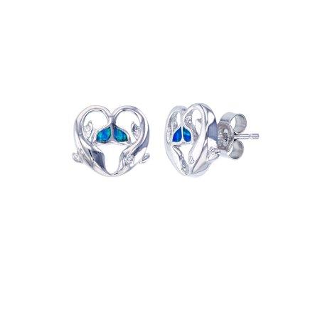 ZilverZoom Sterling Silver Blue Opal 2 Dolphin Earring