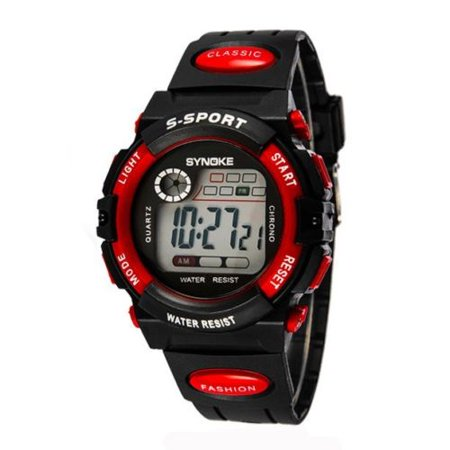 Kids Child Boy Watch Waterproof Band Led Digital Sport Casual Quartz Wrist Watch Red