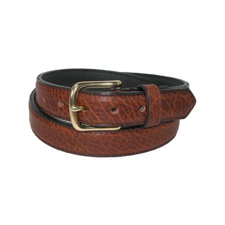 Size 44 Mens Bison Leather 1.25 Inch Dress Belt, (Bison Belt)