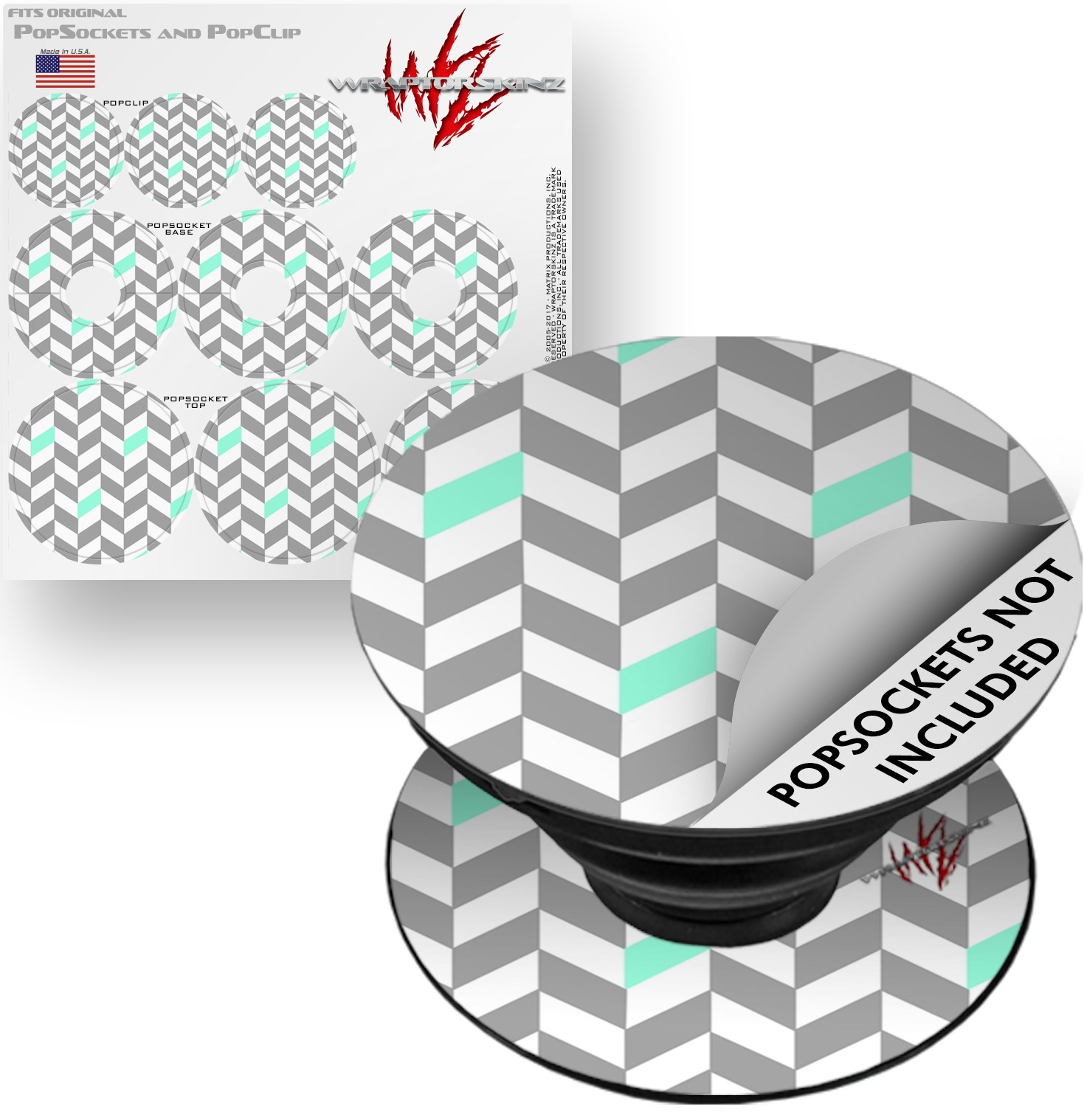 Decal Style Vinyl Skin Wrap 3 Pack for PopSockets Chevrons Gray And Seafoam (POPSOCKET NOT INCLUDED) by WraptorSkinz