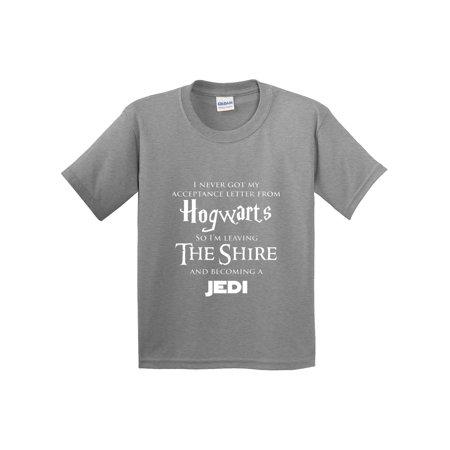 Trendy USA 1064 - Youth T-Shirt Hogwarts The Shire Jedi Medium Heather Grey ()