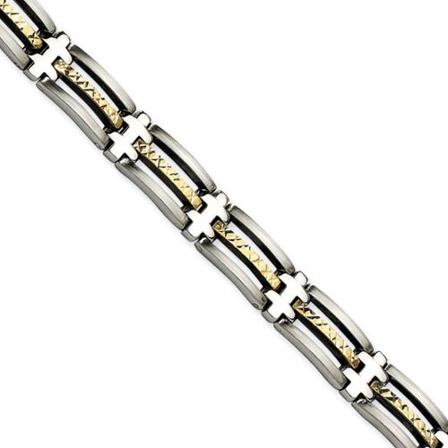 Chisel Versil  Men's Stainless Steel and 14k Gold 8.25-inch Diamond-cut Bracelet
