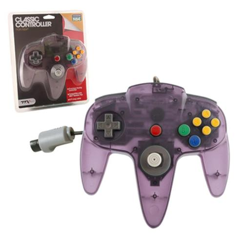 Wired Controller For Nintendo 64 System Clear Purple