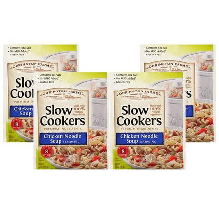 (4 Pack) Orrington Farms Slow Cookers Chicken Noodle Soup Seasoning, 2.5 oz