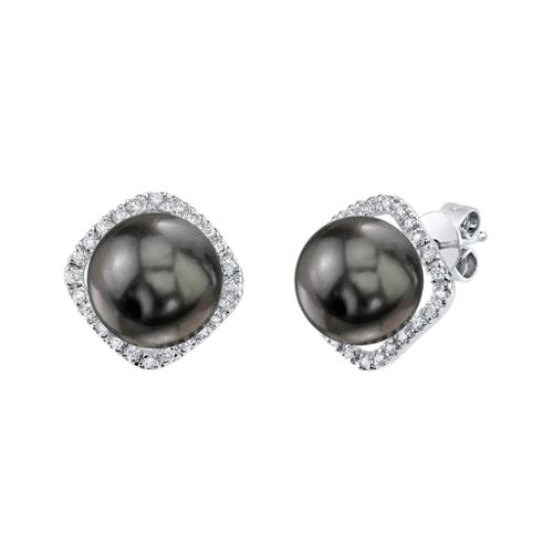 Radiance Pearl 14k White Gold Tahitian South Sea Pearl 1 6ct TDW Diamond Earrings (9-10 mm) by Overstock