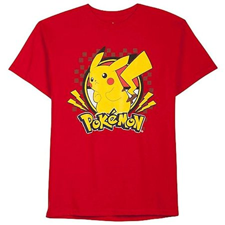 Pokemon Pikachu Red Boys Short Sleeved Shirt (X-Large (18-20)) (Pikachu Girl Or Boy)