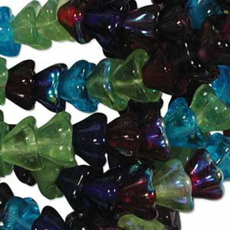 Swarovski Glass Jewel - Gemstone Mix 6x8mm Flower Cone 45 Bead Cap Czech Glass, Loose Beads,