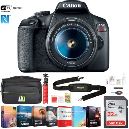 Canon EOS Rebel T7 Digital SLR Camera 18-55mm f/3.5-5.6 IS II Kit (2727C002) w/ 32GB Deluxe Accessory Bundle Includes, Deco Gear Camera Bag and Photo and Video Professional Editing Suite (Digital Professional Camera Canon)