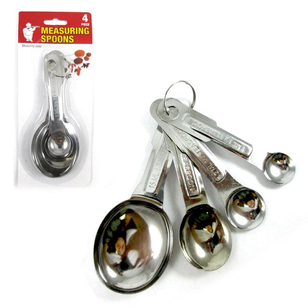 4 Pc Stainless Steel Measuring Spoon Teaspoon Set Scoop Baking Metric Tool New ! by PRIDE PRODUCTS