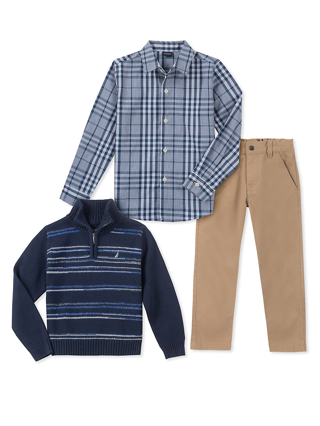 Little Boy's Three-Piece Striped Sweater, Plaid Collared Shirt & Classic Pants Set