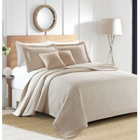 Sherry Kline Rombo Embroidered 3-piece Queen Taupe Cotton Quilt Set