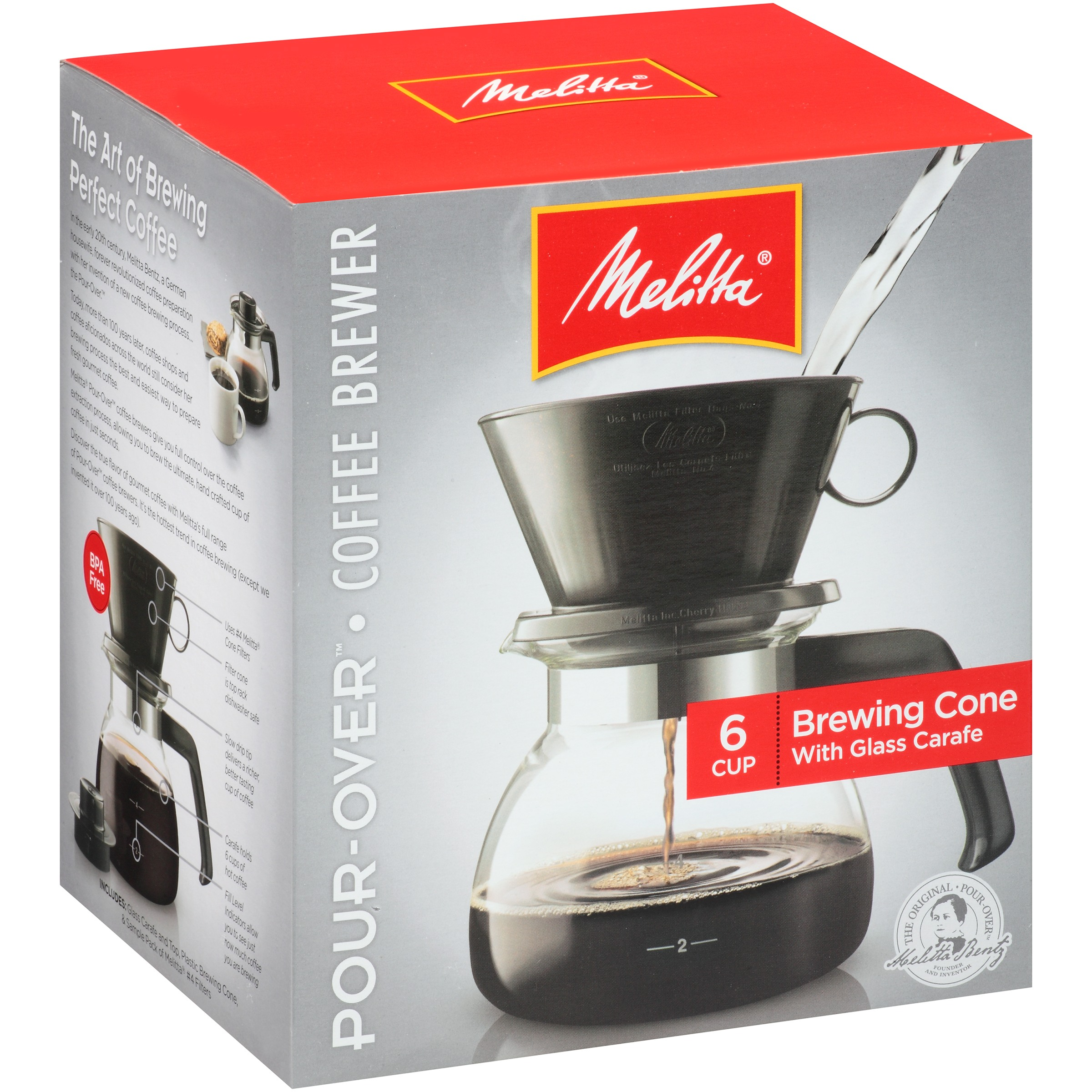 Melitta® Pour-Over™ Brewer 6 Cup Coffee Maker with Glass Carafe Box