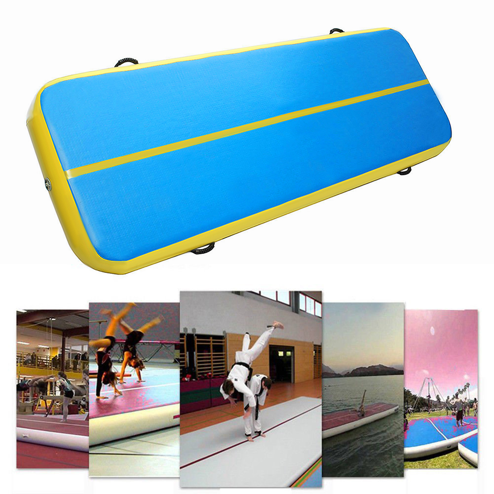 Airtrack Inflatable Air Track Home Gymnastics Tumbling Yoga GYM Taekwondo Cheerleading Landing Exercise Training Floor Mat Cushion & Pump 300*90*10Cm