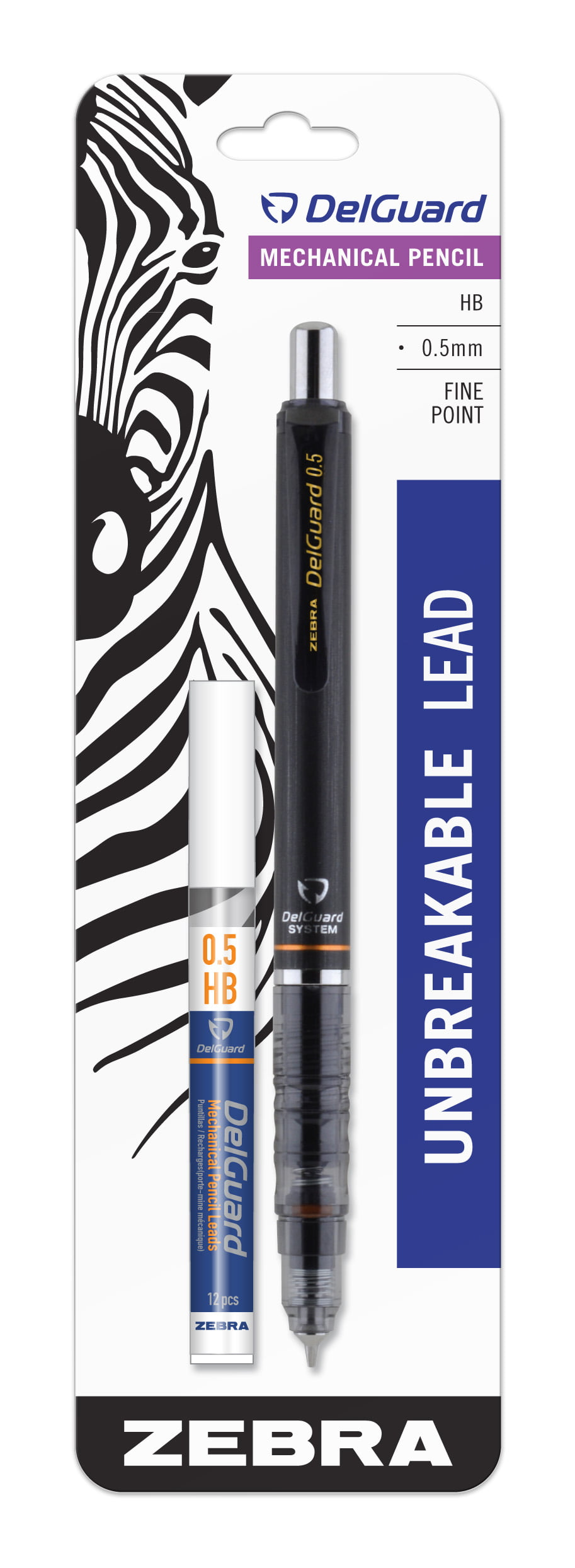 Zebra DelGuard Mechanical Pencil with Bonus Lead Refill, Fine Point, 0.5mm Point Size, Standard #2 HB Lead, Black Barrel, 1-Count