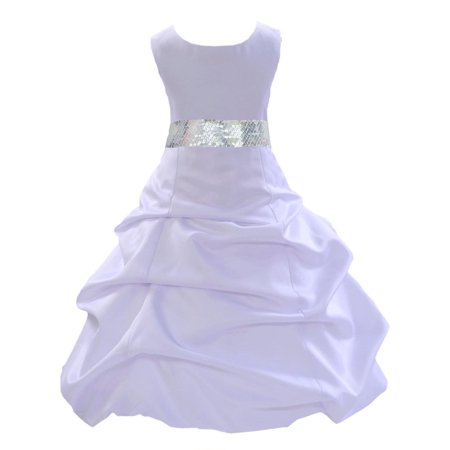 Ekidsbridal Formal Satin White Flower Girl Dress Sequin Mesh Sash Bridesmaid Wedding Pageant Toddler Recital Easter Holiday First Communion Birthday Baptism Occasions 2 4 6 8 10 12 14 16 - Formal Girls Dresses 7 16