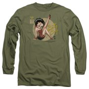 Betty Boop Nose Art Mens Long Sleeve Shirt