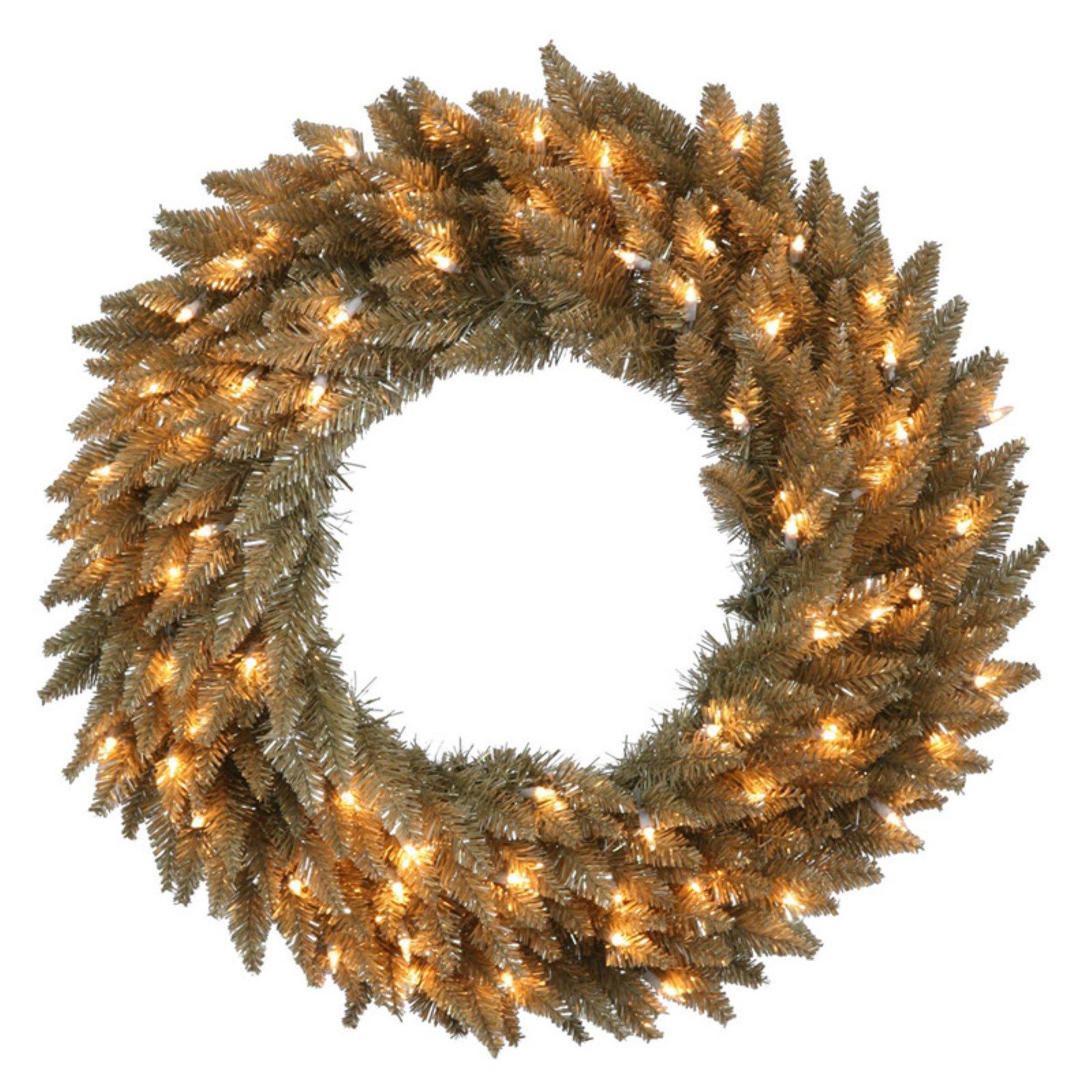 Vickerman Antique Champagne Pre-Lit Wreath - Clear Lights