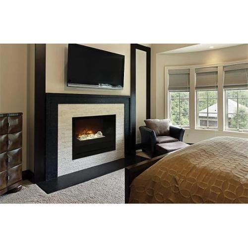 "Modern Flames 36"" Home Fire Custom Built-in Firebox - Black Glass Front"