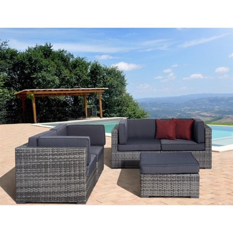 Nice 5-Piece Grey Wicker Seating Set with Grey Cushions