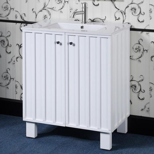 Infurniture 30 inch White Finish Single Sink Soft-closing Doors Bathroom Vanity