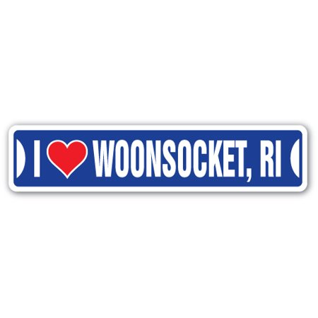 I LOVE WOONSOCKET, RHODE ISLAND Street Sign ri city state us wall road décor - Party City Ri