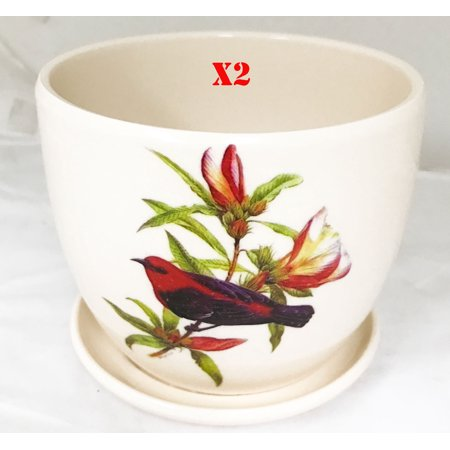"Image of ""2 pcs set, Creative Motion Ceramic Mini Flower Pot with Birds Design. Product Size: 4.6"""" x 4.6"""" x 4"""". 4 Inch Ceramic Succulent Planter Flower Pots with Saucer"""