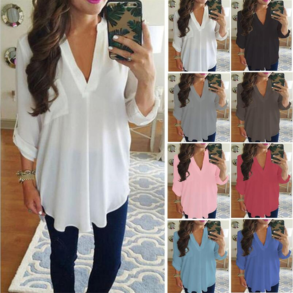Sexy V Neck Loose Long Sleeve Chiffon Shirt Pocket Top Plus Size Women Blouse