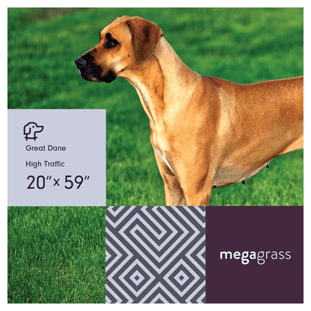 MegaGrass Great Dane 20 x 59 in Artificial Grass for Large Pet Dog Potty Indoor/Outoor Area Rug