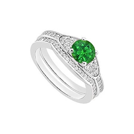 Created Emerald Engagement Ring with Cubic Zirconia Wedding Rings in 14K White Gold 1.05 CT TGW - image 1 de 2