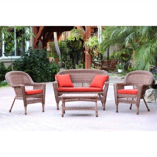 Jeco 4pc Wicker Conversation Set in Honey with Red Orange Cushions