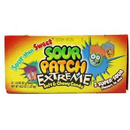 Sour patch extreme safe & chewy candy by Cadbury Adams - 1.8 oz/pack, 24 (Adams Sour)