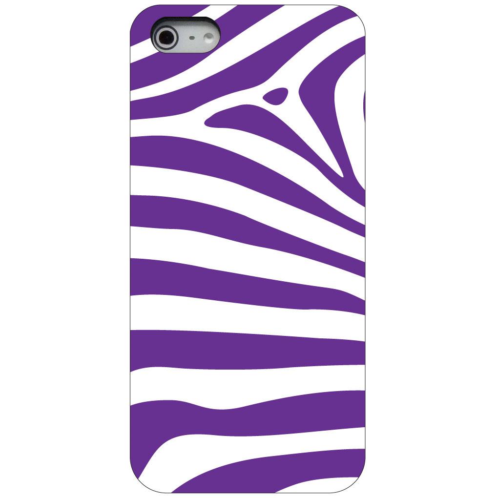 CUSTOM Black Hard Plastic Snap-On Case for Apple iPhone 5 / 5S / SE - Purple & White Zebra Skin Stripes