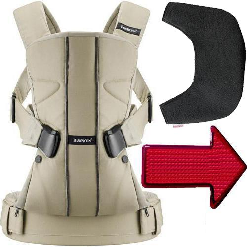 Baby Bjorn Baby Carrier One with Bib and LED Light - Khaki