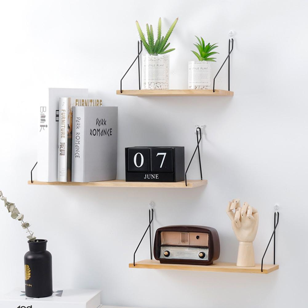 Solid Wooden Wall Shelf Iron Partition Board Bedroom TV Wall Hanging Storage Shelf Rack For Home & Living Room Decoration - Walmart.com - Walmart.com