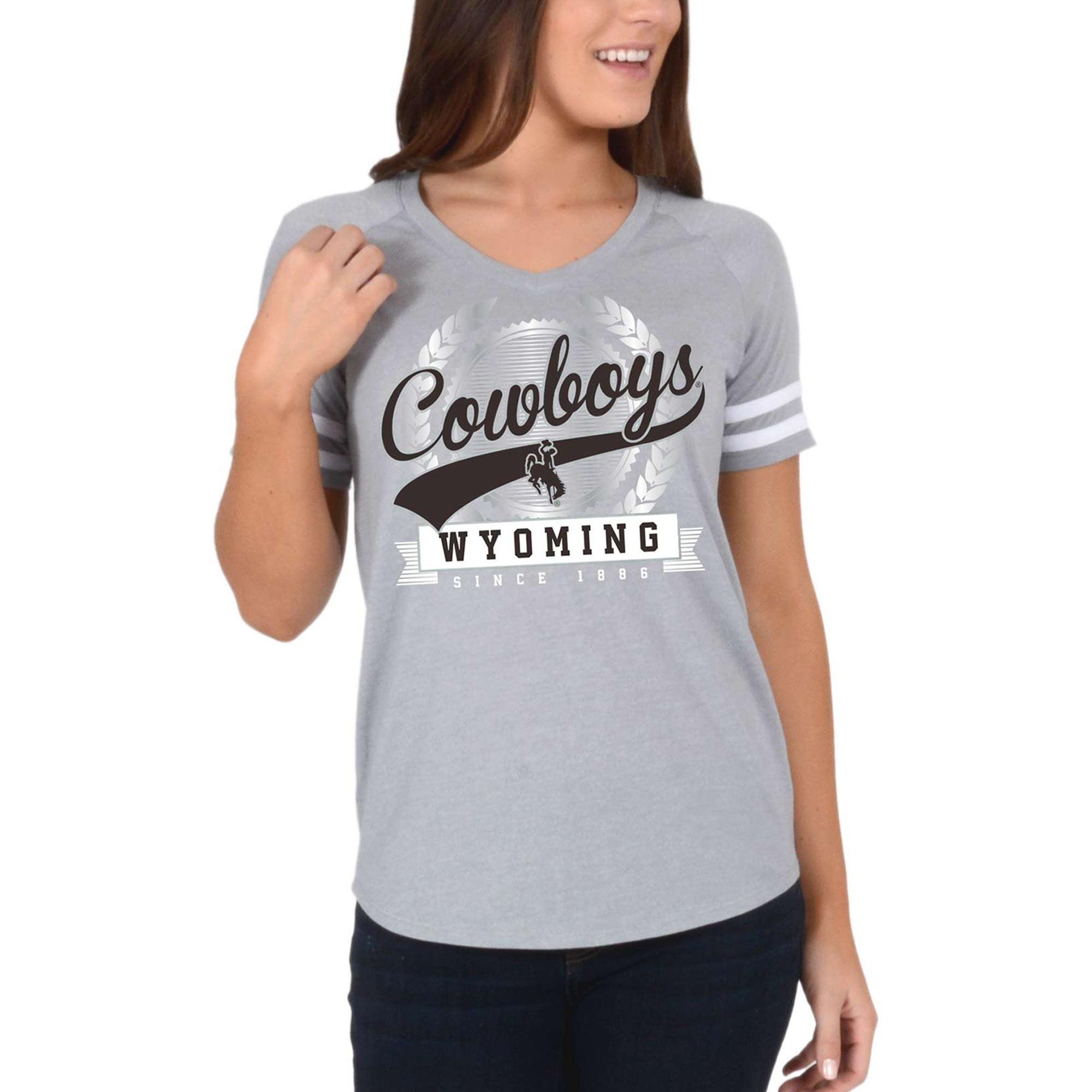Women's Gray Wyoming Cowboys Laurel Script V-Neck T-Shirt
