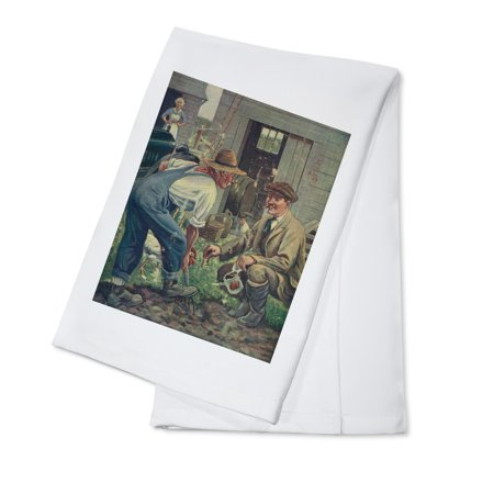 National Sportsman   Man Gathering Worms For Fishing  Talking With Farmer  Farmers Wife  100  Cotton Kitchen Towel