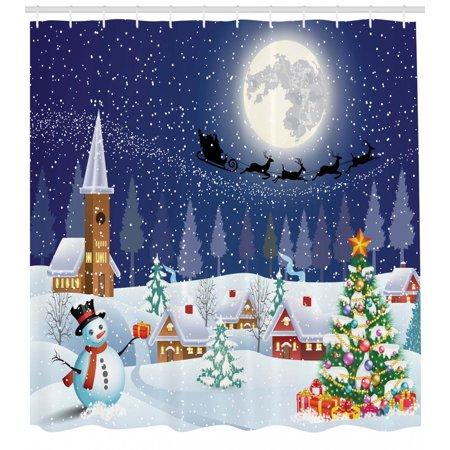 Christmas Shower Curtain Winter Season Snowman Xmas Tree Santa Sleigh Moon Present Boxes Snow And