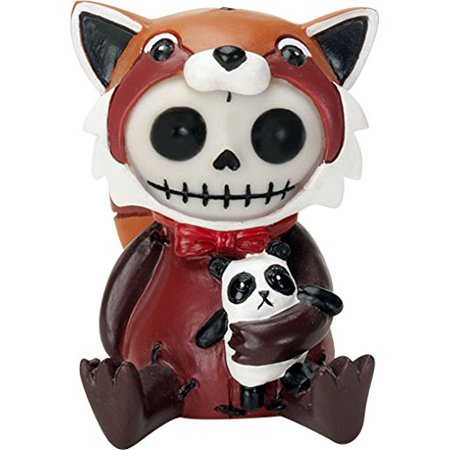 Ebros Furrybones Reddington The Red Panda Hooded Skeleton Monster Collectible Sculpture Decorative Toy