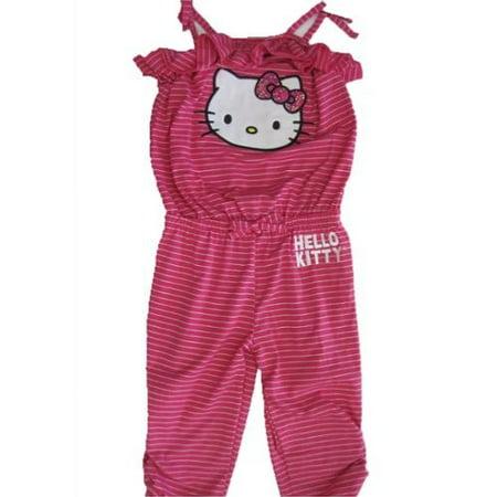 Little Girls Pink White Thin Striped Ruffle Pants Romper 4-6X