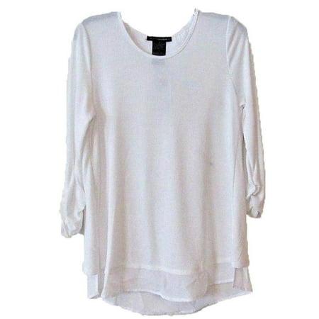 Element Top - Grace Elements Womens Size Medium 3/4 Sleeve Top, White