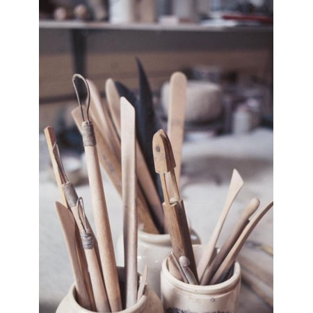 Wooden Tools for Pottery in Room in La Beauce, Canada Print Wall Art ()