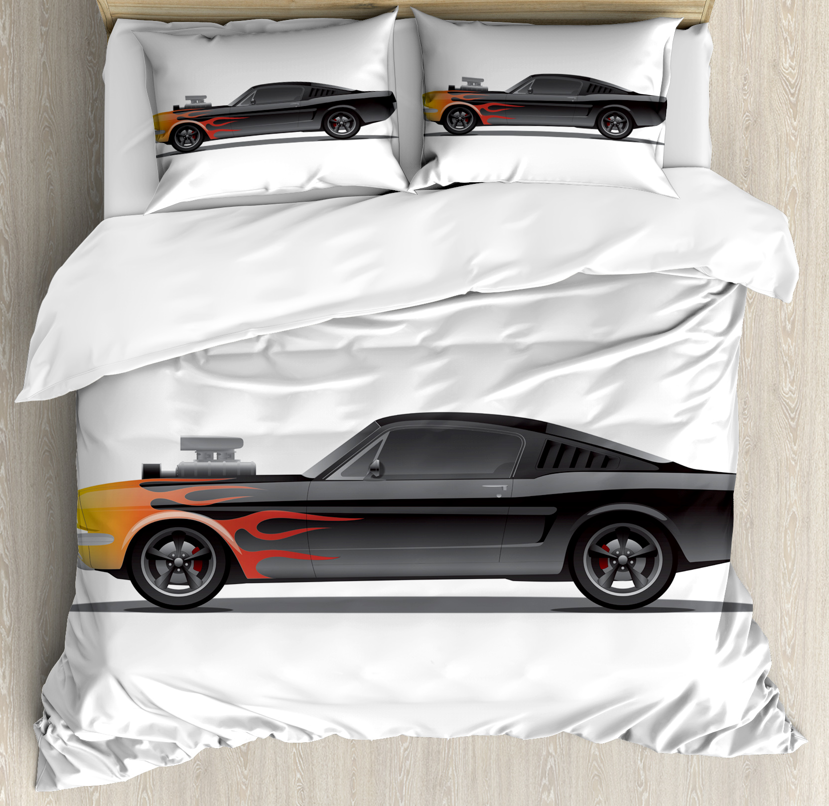 Cars Duvet Cover Set Custom Design Muscle Car With Supercharger And