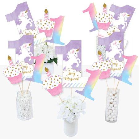 1st Birthday Rainbow Unicorn - Magical Unicorn First Birthday Party Centerpiece Sticks - Table Toppers - Set of 15 (First Birthday Centerpieces)