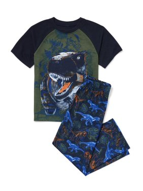 The Children's Place Short sleeve raglan printed jungle dino 2 piece pajama set (little boy & big boy)