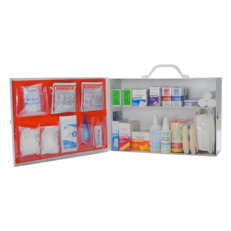 OSHA Approved First Aid Kit Complete 2 Shelf Metal Cabinet by