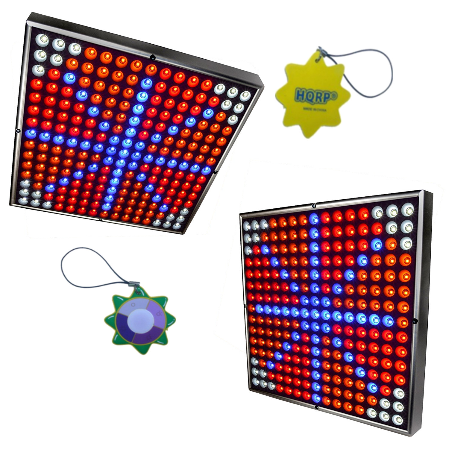 "HQRP 90W Multicolor 2x 12"" Square 450 LED Grow Light Syst..."